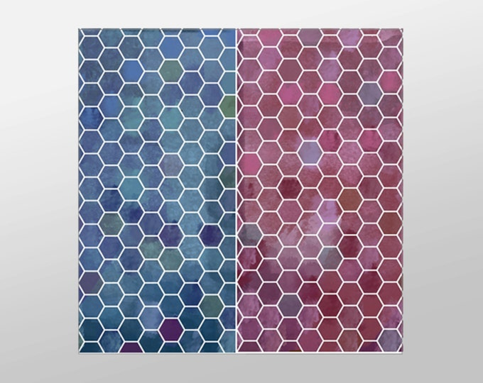 Red and Blue Honeycomb Canvas Art Print, Honeycomb Wall Art, Artistic Wall Art, Canvas Art, Canvas Print, Home Art, Wall Art