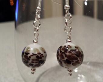 Animal Print - Blown Glass & Silver - Earrings