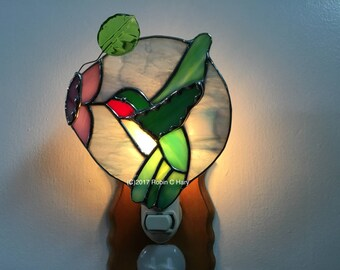 3D Hummingbird Night Light in Stained Glass