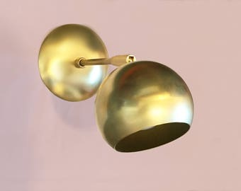 Brass Eyeball Sconce • Marylou • Hard-wired • Mid-century Modern • brass wall sconce