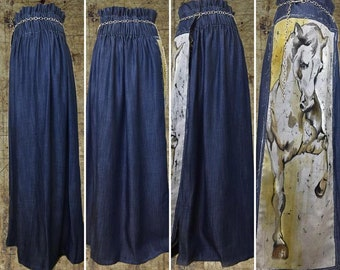 Original blue denim wrap skirt, batik art, handmade batik painting on clothes, artpunk, one of a kind artwear