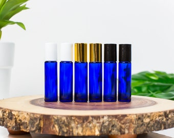 10 ml Blue Glass Roll-on Vials with Stainless Rollers and Black Caps