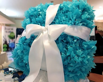 PuffScape Aqua Turquoise Blue Card Centerpiece BOX White Ribbon Tissue Paper Flower Pom Pom Puffs Fairy Tale Princess Quinceanera Sweet 16