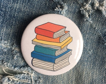 "book button, book worm, read more books, 2.25"" pin back button"