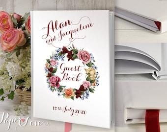 Wedding Guest Book Guestbook Custom Guest Book Personalized Guestbook Rustic Bohemian Floral Keepsake A4 Large 100 Writing Pages