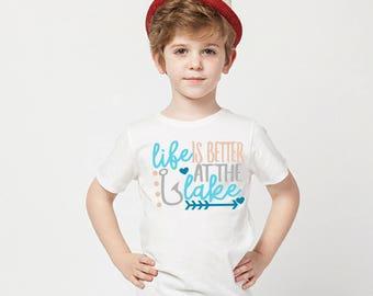 Life is better at the lake graphic tee, children's Tshirt, 2T, 3t, 4t, 5/6T funny graphic kids shirt, kids boys, kids girls, kids shirt