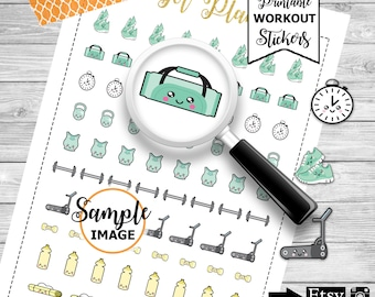 Workout Stickers, Workout Planner Stickers, Agenda Workout Stickers, Printable Stickers