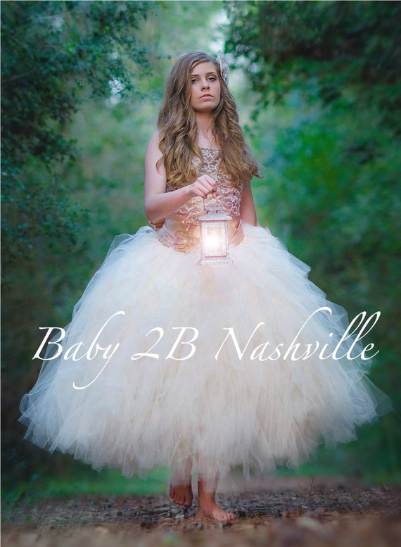 Rustic Dress Wedding Dress  Burlap Dress  Champagne Lace Dress Flower Girl Dress Flower Girl Dress Dark Gold Dress Toddler Tulle Dress Girls