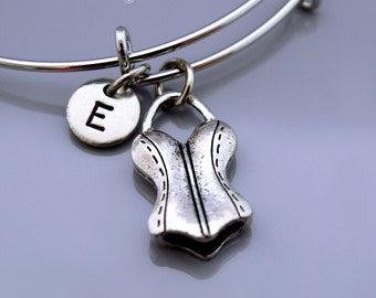 Corset bangle, Bustier charm bangle, Corset charm bracelet, Bustier bracelet, lingerie charm, Bra charm, Camisole, Initial bracelet
