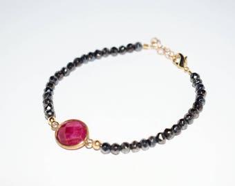 Gunmetal pyrite and Ruby Bracelet Ruby