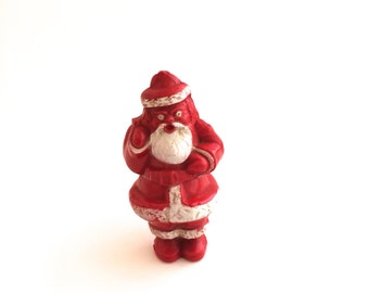 Santa Claus in Christmas Red Plastic with An Open Pack on His Back for Trinkets, Coins - Vintage Collectible