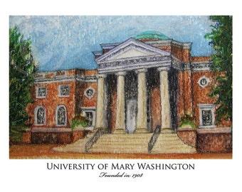 University of Mary Washington Print - 5x7 Pastel and Watercolor - Trinkle Hall, Fredericksburg, VA