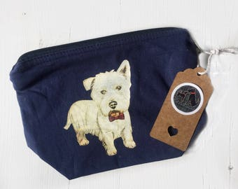 Westie makeup bag, west highland terrier print, westie gifts, westie cotton bag, quirky westie print, westie cosmetic bag, westie gift