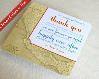 Mexico Map Wedding Reception Thank You Card -Vintage Destination Travel - Custom Colors - Custom Wording