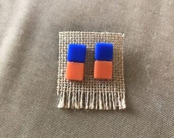 Pendientes de azulejo azul y naranja