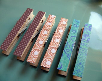 Decorative Decoupaged Clothespins Memo clips ---Abbey  Gifts Under 5 Dollars Hostess Gift, Organization, Home Office, Kitchen