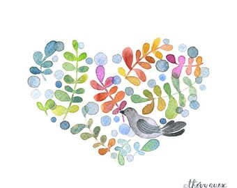 Watercolor heart poster, Love heart, Watercolor bird illustration, Flower bird illustration, Cute heart, Watercolor heart, Foliage bird