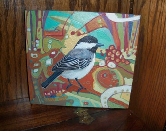 Hand Painted Wooden Wall Art Black Capped Chickadee Bird Colorful Spring Nature Abstract Modern