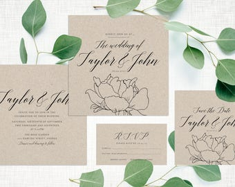 Wedding Invite – Peony Rustic Printable Wedding Invitation Suite
