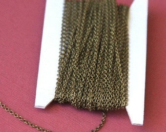 100ft spool of Antiqued Brass round cable chain 2X1.5mm, brass bulk chain, bulk cable chain, bulk small chain