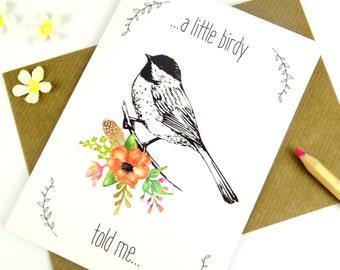 Bird Print Card, Just Because Card, Floral Print, Blank Greeting Card
