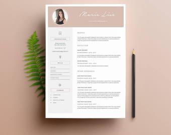 """Modèle de CV """"MARIE"""" moderne & Lettre de motivation   4 Pages   Pour Ms Word   Guide d'utilisation Français + Anglais   CV Professionnel  """
