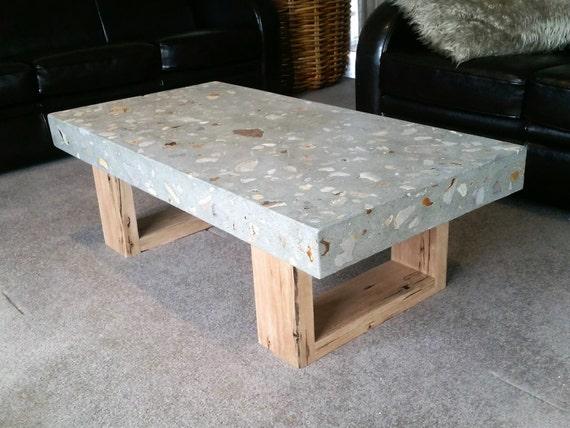 Polished Concrete Grey Coffee Table 1.2 X 600mm Vic Ash