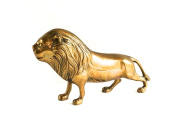 VIntage Solid Brass Male Lion