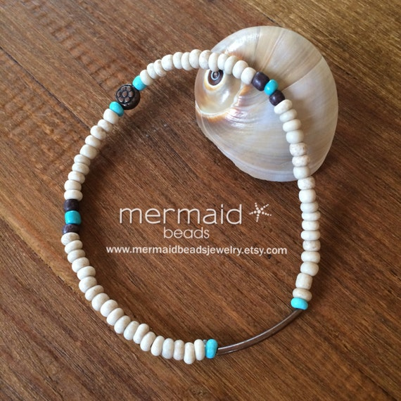 Turquoise Anklet Beaded Stretch Anklet Ankle Bracelet Boho Anklet Beach Inspired Beaded Anklet Copper Ankle Bracelet Gifts Under 20 Yoga Zen