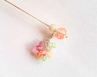 Pastel Swarovski Crystal Hat Pin or Stick Pin or Hijab Pin