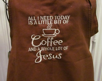 Coffee and Jesus Adult Apron