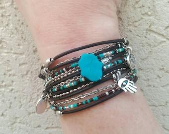 Kabbalah Bracelet - Brown Boho Wrap Bracelet - Protection Bracelet - Evil Eye Jewelry - Turquoise Hamsa Bracelet - Choose FOUR Charms
