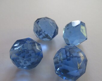 Vintage glass buttons, blue glass buttons, 16 mm glass buttons, glass buttons,