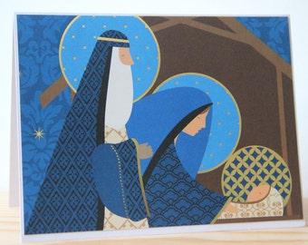 4 Nativity Christmas Cards. Religious Christmas Cards. Gold Foil Christmas Cards.  Baby Jesus Cards. Christian Christmas Card. Manger