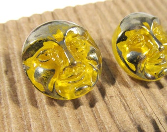 Czech Glass Button, Moonglow Glass, Smiling Moon Face, Yellow Silver Luster, Two (2) Buttons, Jewelry Sewing Supply (G301)