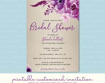 Plum Watercolor Flowers Bridal Shower Invitation