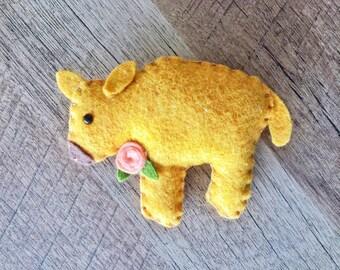 Baby Buffalo Ornament - Bison Ornament - Buffalo Gift - Baby Bison Gift - Buffalo Decor - Felt Buffalo - County Decor - Farm Decor - Western