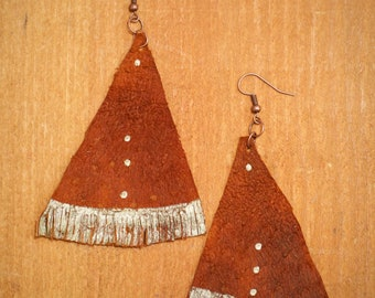 Copper Hand Dyed leather, fringe earring with gold hand painted detail
