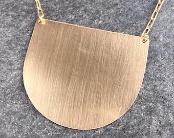 Crescent Necklace - Bronze geometric pendant necklace - modern bronze crescent necklace - bronze contemporary pendant---0040