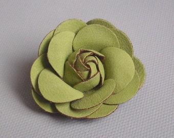 Green suede flower