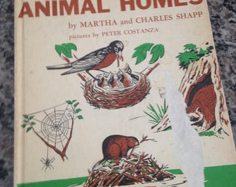 """Vintage Early Reader Hardcover """"Let's Find Out About Animal Homes"""" by Martha and Charles Shapp 1962"""