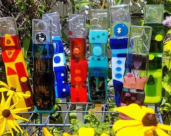 Colorful Fused Glass Garden Stakes Yard Art