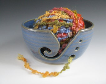 Ceramic Pottery Knitting Bowl / Yarn Bowl in Blue