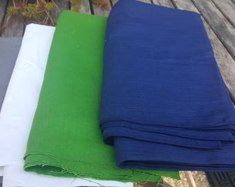4 pounds 6 pieces fabrics // 12 yards by weight // solid colors cotton and fleece // Quilting Scrap Fat Quarters Fabric Remnants