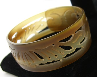 Victorian Child's Bracelet, Carved Horn Antique Cuff, 1890s Victorian Jewelry, Pierced Horn Bangle