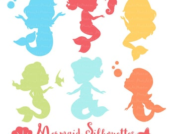 Professional Mermaid Silhouettes Clipart in Fresh Boy - bright Mermaids, Mermaid Clipart, Mermaid Vectors