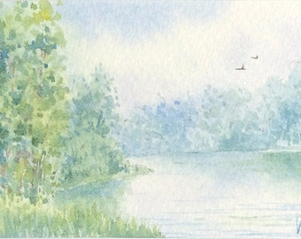 Original watercolor ACEO painting - Placid dream