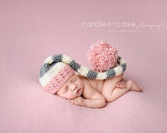Elf Hat in Pink, Cream, and Grey with a detachable Pink Bow