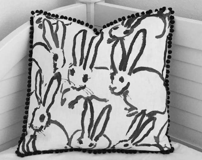 Groundworks Bunny Hutch Print in Charcoal Black on Both Sides Designer Pillow Cover with Small Pom Pom Trim - Square, Lumbar and Euro Sizes