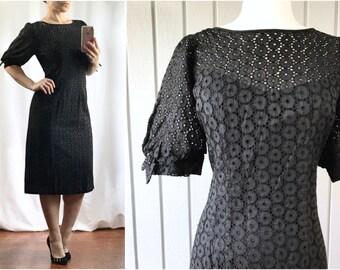 1950s Eyelet Wiggle Dress   1950s Dress   1960s Wiggle Dress   Black Eyelet Dress   1950s Clothing   Vintage Clothing